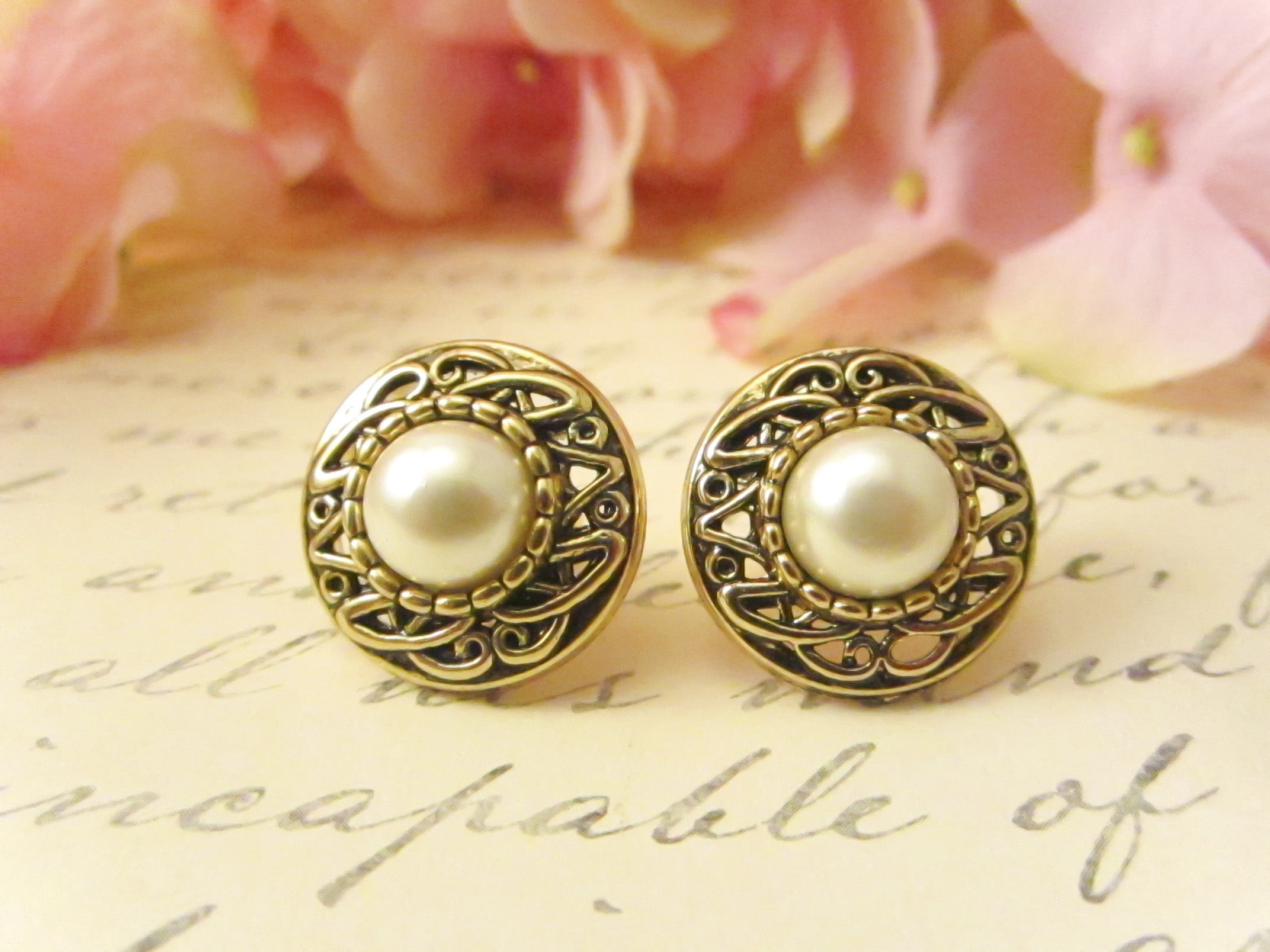gold tone clips pearl chanel vintage earrings faux product